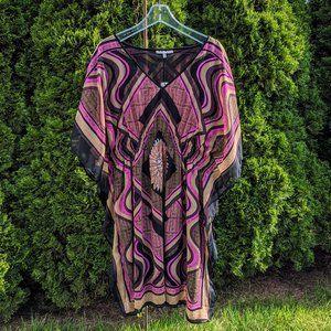 Retro Flowy Curvy Size Kaftan Chifon Dress